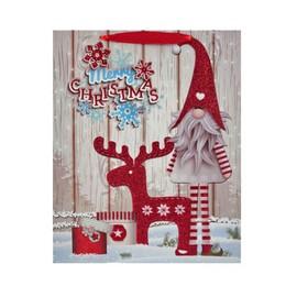 Merry Christmas Feliratú Rénszarvas Mintás Karácsonyi Ajándéktasak