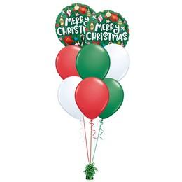 Merry Christmas - Karácsonyi Díszek - Zöld Prémium Léggömbcsokor