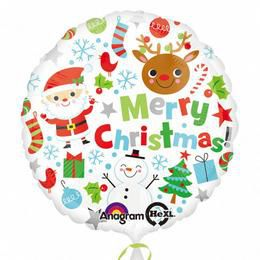 17 inch-es Merry Christmas Icons - Karácsonyi Figurák Héliumos Fólia Lufi