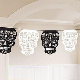 Mexikói Halottak Napja - Black & Bone Parti Függő Dekoráció - 365 cm