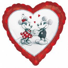 18 inch-es Mickey & Minnie Love Holographic Fólia Lufi
