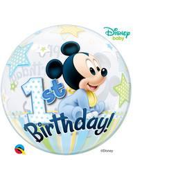 22 inch-es Disney Bubbles Mickey Mouse Első Szülinapi Héliumos Lufi
