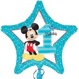 18 inch-es Mickey Mouse Csillag Alakú Első Szülinapi Fólia Lufi
