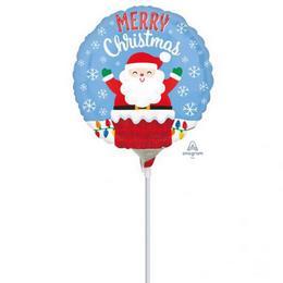 Santa in Chimney Christmas - Mikulás Kéményben Karácsonyi Mini Shape Fólia Lufi