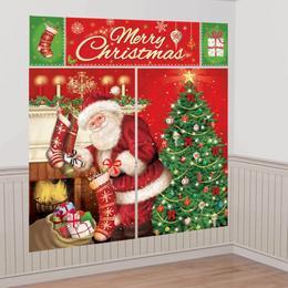 Mikulás Ajándékokkal Karácsonyi Faldekoráció