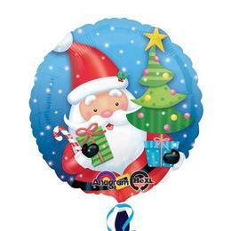 18 inch-es Mikulás Ajándékokkal - Santa with Tree Karácsonyi Héliumos Fólia Lufi