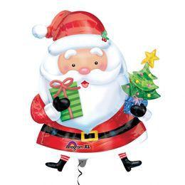 Mikulás Ajándékokkal - Santa with Tree Karácsonyi Super Shape Héliumos Fólia Lufi