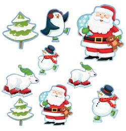 Vidám Korcsolyázó Karácsonyi Figurák Dekoráció - 12 db-os