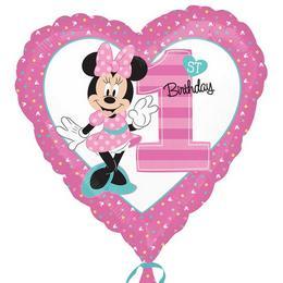 18 inch-es Minnie Mouse Szív Alakú Első Szülinapi Fólia Lufi