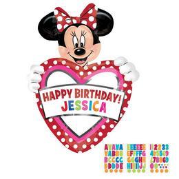 Minnie Mouse Feliratozható Szülinapi Szív Alakú Héliumos Fólia Lufi