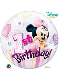 22 inch-es Disney Bubbles Minnie Mouse Első Szülinapi Héliumos Lufi