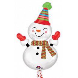 Mosolygó Hóember - Smiley Snowman Karácsonyi Héliumos Fólia Lufi