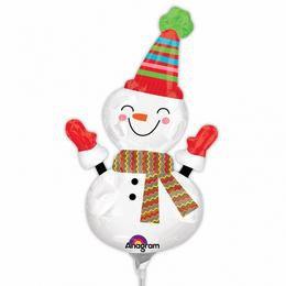 Mosolygó Hóember - Smiley Snowman- Mini Shape Fólia Lufi Pálcán