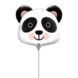 Mosolygó Kedves Panda Fej Levegős Fólia Lufi Pálcán, 36 cm