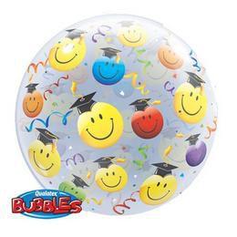 22 inch-es Grad Smile Faces - Mosolygós Arcok Ballagási Bubble Lufi