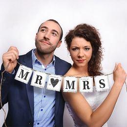 Mr. (Love) Mrs. Esküvői Füzér Szívvel, 77 cm