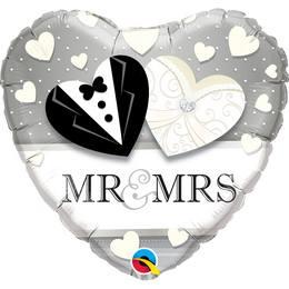 Mr. & Mrs. Esküvői Szív Fólia Lufi, 46 cm