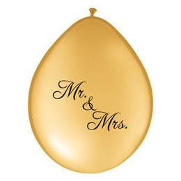 11 inch-es Mr. & Mrs. Feliratú Neck Up Gold Esküvői Lufi (6 db/csomag)