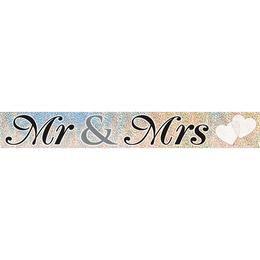 Mr és Mrs Feliratú Hologramos Parti Banner