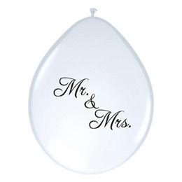 11 inch-es Mr. & Mrs. Feliratú Neck Up White Esküvői Lufi (6 db/csomag)