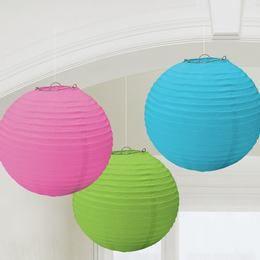 Kék, Pink, Zöld Lampion, 24 cm, 3 db-os