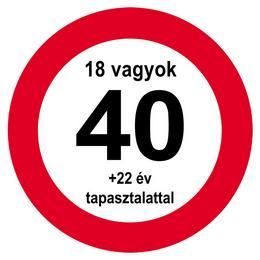 Nem vagyok 40... Sebességkorlátozó Közlekedési Tábla Szülinapra, 40 cm
