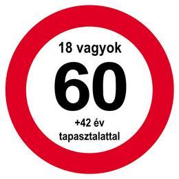 Nem vagyok 60... Sebességkorlátozó Közlekedési Tábla Szülinapra, 40 cm