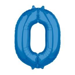 0-ás Kék Számos Héliumos Fólia Lufi, 66 cm
