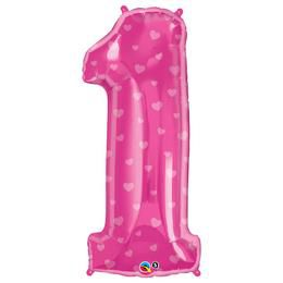 38 inch-es Number 1 Rózsaszín Szív Mintás Héliumos Fólia Lufi