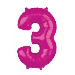 3-as Rózsaszín Számos Héliumos Fólia Lufi, 66 cm