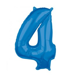 4-es Kék Számos Héliumos Fólia Lufi, 66 cm