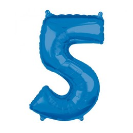 5-ös Kék Számos Héliumos Fólia Lufi, 66 cm