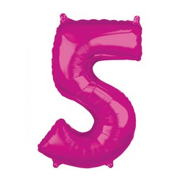 5-ös Rózsaszín Számos Héliumos Fólia Lufi, 66 cm