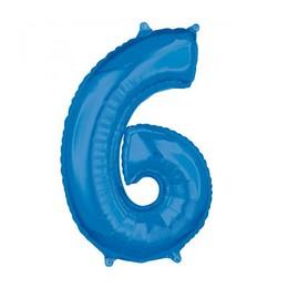 6-os Kék Számos Héliumos Fólia Lufi, 66 cm
