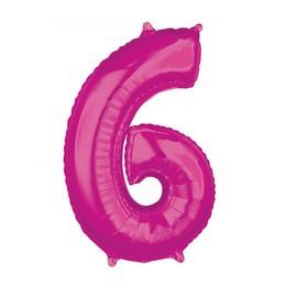 6-os Rózsaszín Számos Héliumos Fólia Lufi, 66 cm