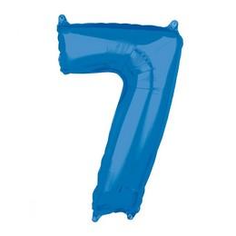 7-es Kék Számos Héliumos Fólia Lufi, 66 cm