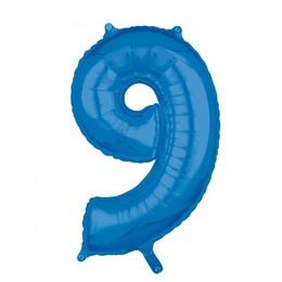 9-es Kék Számos Héliumos Fólia Lufi, 66 cm