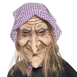 Öreg Boszorkány Maszk Hajjal és Fejkendővel