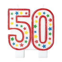 Óriás 50-es Csillámos - Csillogó Csillag Mintás Szülinapi Parti Számgyertya