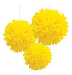 Sárga Bolyhos Függő Dekoráció