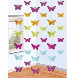 Pillangós Függő Dekoráció - 2 méter, 6 db-os