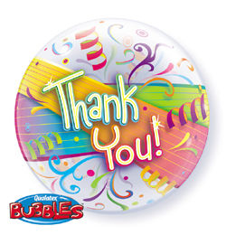 22 inch-es Thank You Streamers - Köszönettel Héliumos Bubble Lufi