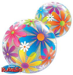 22 inch-es Színes Virágok - Fanciful Flowers Héliumos Bubble Lufi
