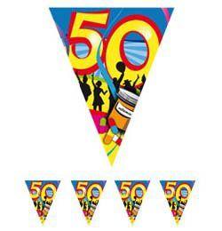 50-es Számos Színes Szülinapi Parti Zászlófüzér - 10 m