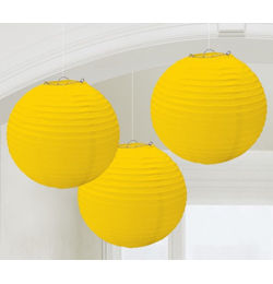 Sárga Színű Gömb Lampion - 3 db