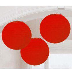 Piros Gömb Lampion - 3 db