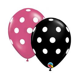 11 inch-es Big Polka Dots Black és Magenta Pöttyös Lufi (25 db/csomag)
