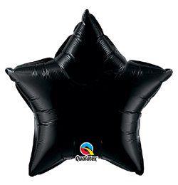 4 inch-es Ónix Fekete - Onyx Black Csillag Fólia Lufi Pálcán