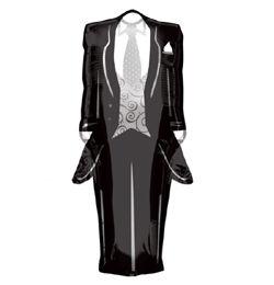 Szmoking - Tuxedo - Esküvői Super Shape Héliumos Fólia Lufi