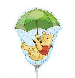 Micimackó Esernyővel - Winnie The Pooh - Mini Shape Fólia Lufi Pálcán